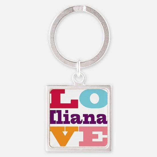 I Love Iliana Square Keychain