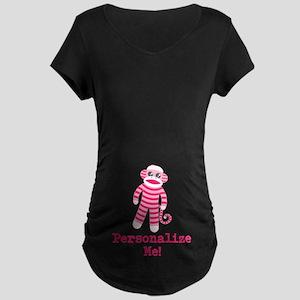 Pink Sock Monkey Maternity Dark T-Shirt