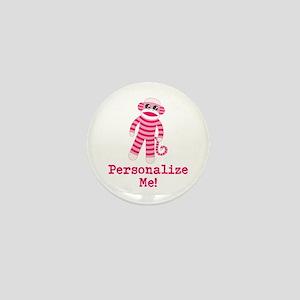 Pink Sock Monkey Mini Button