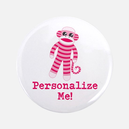 "Pink Sock Monkey 3.5"" Button (100 pack)"