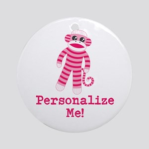 Pink Sock Monkey Ornament (Round)