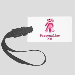 Pink Sock Monkey Large Luggage Tag