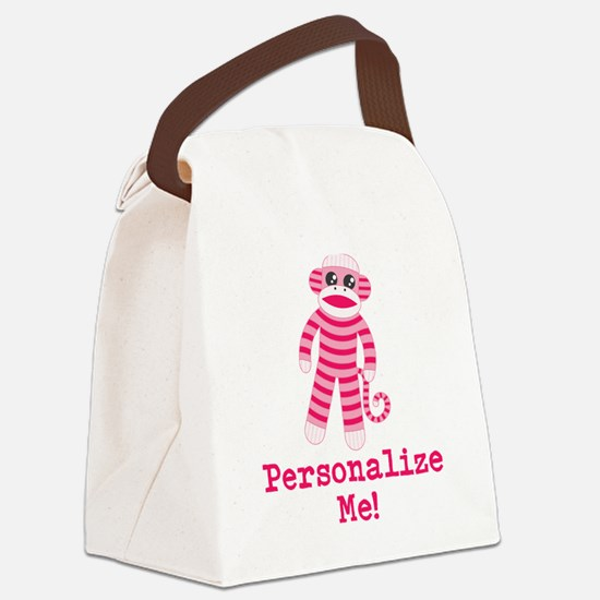 Pink Sock Monkey Canvas Lunch Bag
