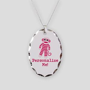 Pink Sock Monkey Necklace Oval Charm
