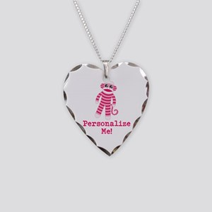 Pink Sock Monkey Necklace Heart Charm