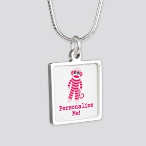 Pink Sock Monkey Silver Square Necklace