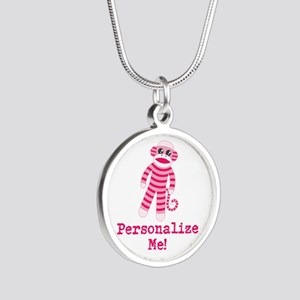 Pink Sock Monkey Silver Round Necklace