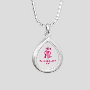 Pink Sock Monkey Silver Teardrop Necklace