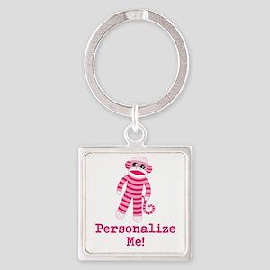 Pink Sock Monkey Square Keychain
