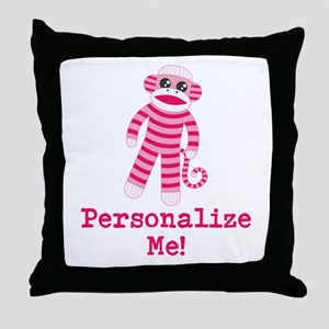 Pink Sock Monkey Throw Pillow