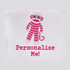 Pink Sock Monkey Throw Blanket