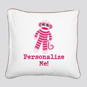 Pink Sock Monkey Square Canvas Pillow