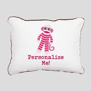 Pink Sock Monkey Rectangular Canvas Pillow