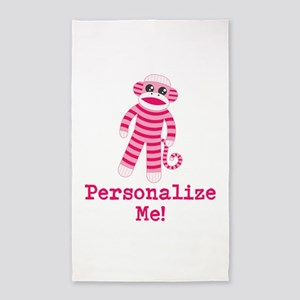 Pink Sock Monkey 3'x5' Area Rug