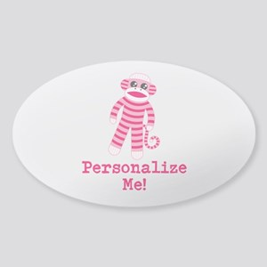 Pink Sock Monkey Sticker (Oval)