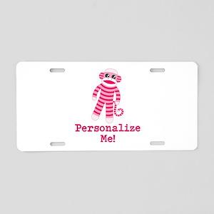Pink Sock Monkey Aluminum License Plate