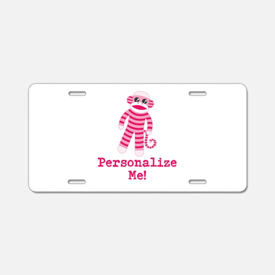 Pink Sock Monkey Aluminum License Plate