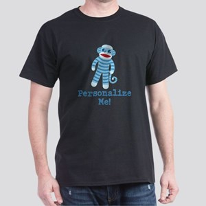 Baby Blue Sock Monkey Dark T-Shirt