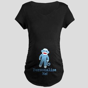 Baby Blue Sock Monkey Maternity Dark T-Shirt