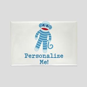 Baby Blue Sock Monkey Rectangle Magnet