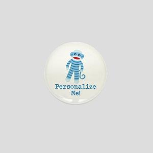 Baby Blue Sock Monkey Mini Button
