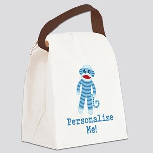 Baby Blue Sock Monkey Canvas Lunch Bag
