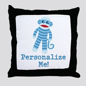 Baby Blue Sock Monkey Throw Pillow