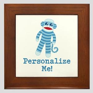 Baby Blue Sock Monkey Framed Tile