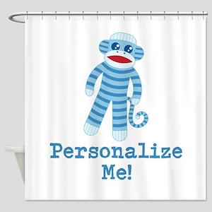 Baby Blue Sock Monkey Shower Curtain