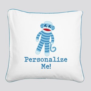 Baby Blue Sock Monkey Square Canvas Pillow
