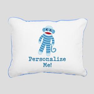 Baby Blue Sock Monkey Rectangular Canvas Pillow