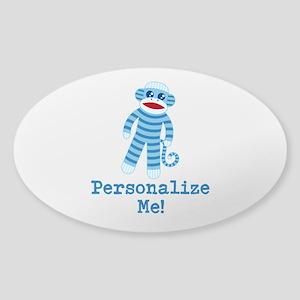 Baby Blue Sock Monkey Sticker (Oval)