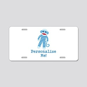 Baby Blue Sock Monkey Aluminum License Plate