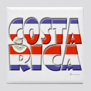 Word Art Flag Costa Rica Tile Coaster
