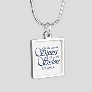 Sisters in Blue Silver Square Necklace
