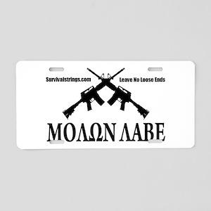 Survival Strings Molon Labe Aluminum License Plate