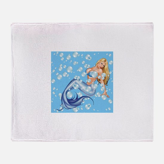 Mermaid and Bubbles Throw Blanket