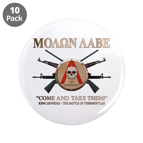 """Molon Labe - Spartan Shield 3.5"""" Button (10 pack)"""
