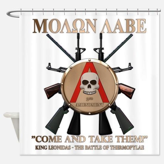 Molon Labe - Spartan Shield Shower Curtain