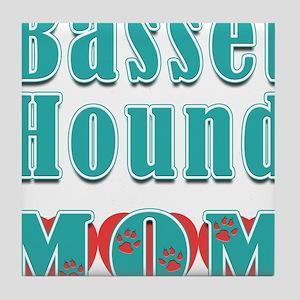 Basset Hound Mom Hearts Tile Coaster