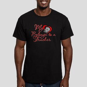 My Heart Belongs to a Trucker Men's Fitted T-Shirt