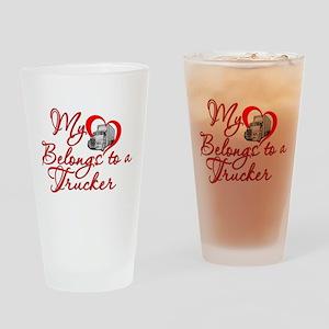 My Heart Belongs to a Trucker Drinking Glass