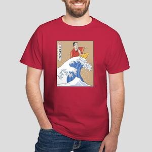 Retro Parody Japan Surf Print Dark Red T-Shirt