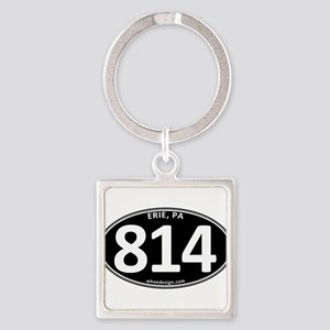 Black Erie, PA 814 Square Keychain