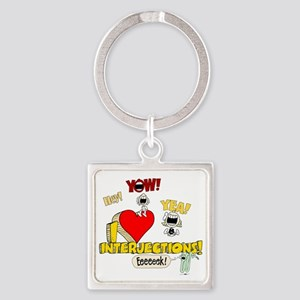I Heart Interjections Square Keychain