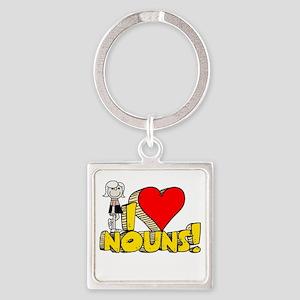 I Heart Nouns Square Keychain