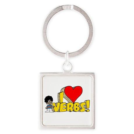 I Heart Verbs - Schoolhouse R Square Keychain