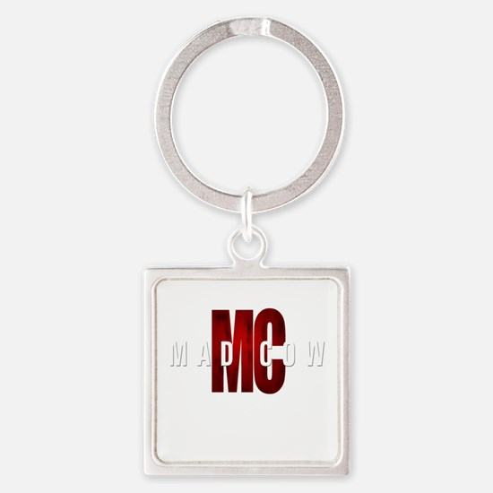 Mad Cow Square Keychain