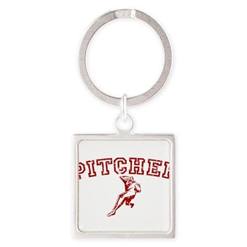 Pitcher - Red Square Keychain