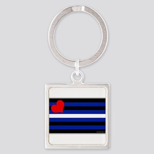 Leather Pride Flag Square Keychain